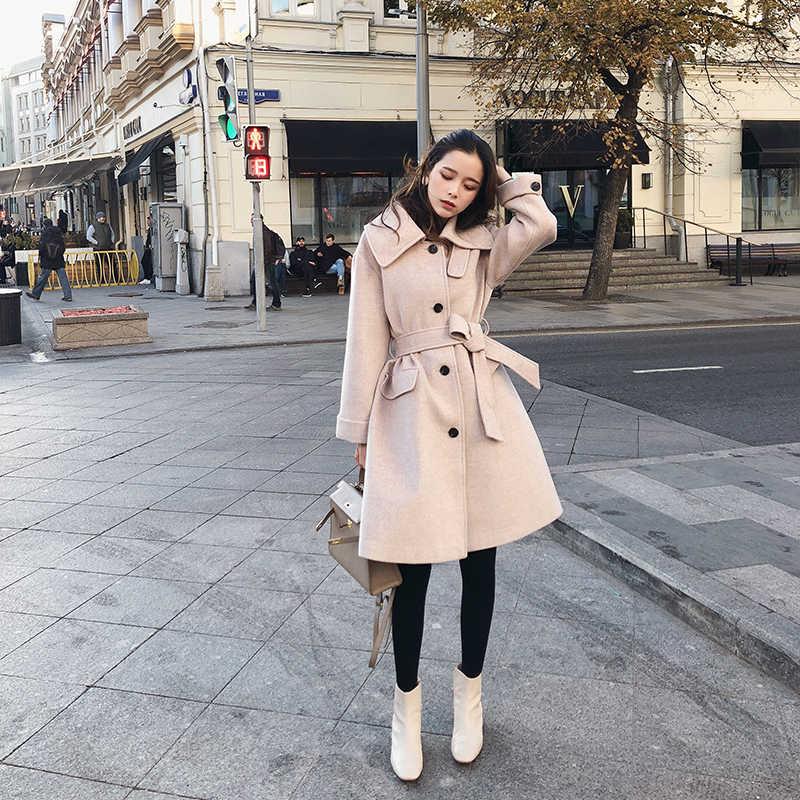Mishow 2019 Gugur Musim Dingin Wol Mantel Kausal Wanita Turndown Collar Single-Breasted dengan Sabuk Mantel Tebal MX18D9657