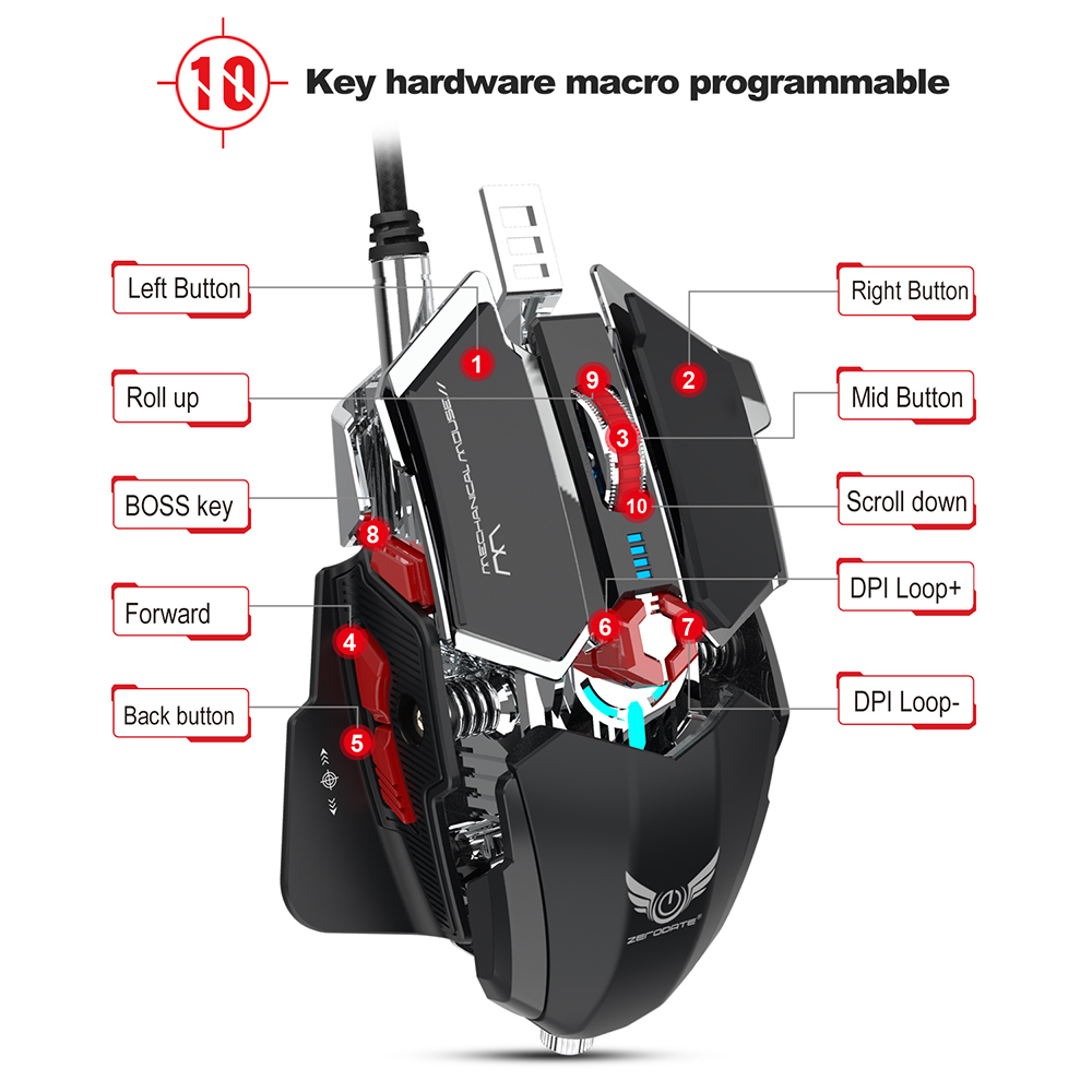 Image 5 - Zerodate LD MS500 Professional Programmable Gaming Mouse 4000DPI 10 Button Mouse Game Wired RGB Mechanical Mouse For PC Computer-in Mice from Computer & Office
