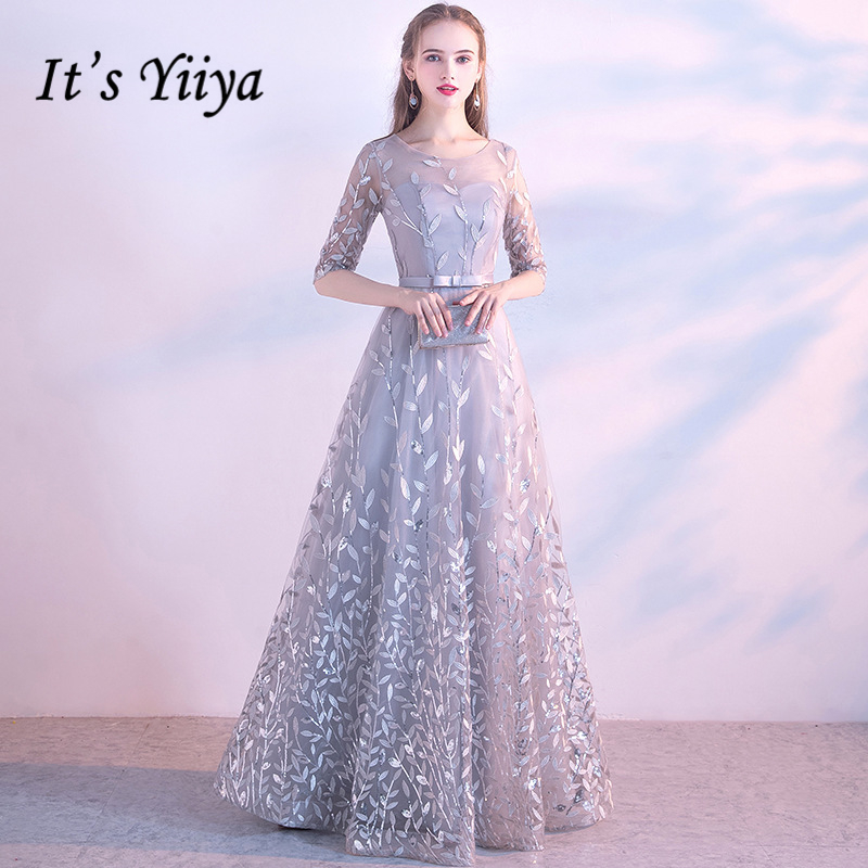 It's Yiiya 2018 O-Neck   Evening     Dresses   Fashion High Quality Lady Style Lace Up Floor Length Simple Formal   Dress   LX326