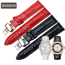 ISUNZUN is suitable for  1853 Tissot Haozhi series T086.207 Leather Watchband belt T086 female 18MM