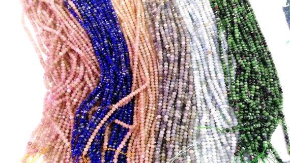 Assorted gemstone crystal lapis sunstone labaradorite aquamarine beryl ruby beads rondelle abacus faceted necklace loose beads 3