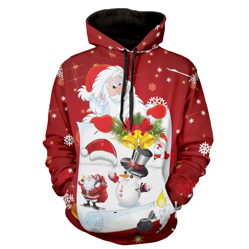Plus Size Hoodies Sweatshirts 3D Christmas Santa Claus Printed Long Sleeve Outerwear Hoddies Mens Casual