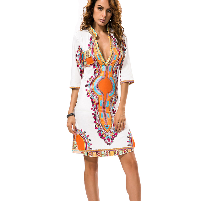 0f8f2eecc09 2018 Retro Summer Dress Women Vintage Bodycon Flower Kim Kardashian Dress  Ethnic Sexy V Neck African