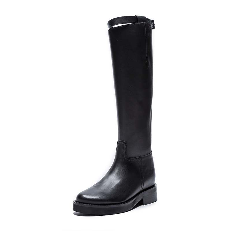 Krazing Pot hot sale high quality round toe riding equestrian boots zipper buckle straps concise designer thigh high boots L13 4