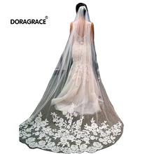 Doragrace Romantic One Tier Cathedral Wedding Bridal Veils with Combs Lace Decals