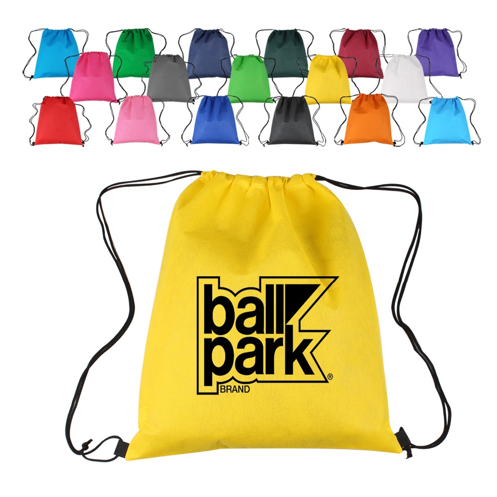 Wholesale Custom Logo Printed Waterproof 210D Polyester Bag Drawstring Backpack