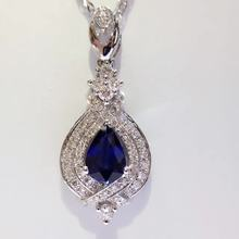 0.566ct+0.305ct 18K White Gold Natural Sapphire and Pendant Necklace Diamond inlaid 2017 Factory Direct New Arrival Fine Jewelry