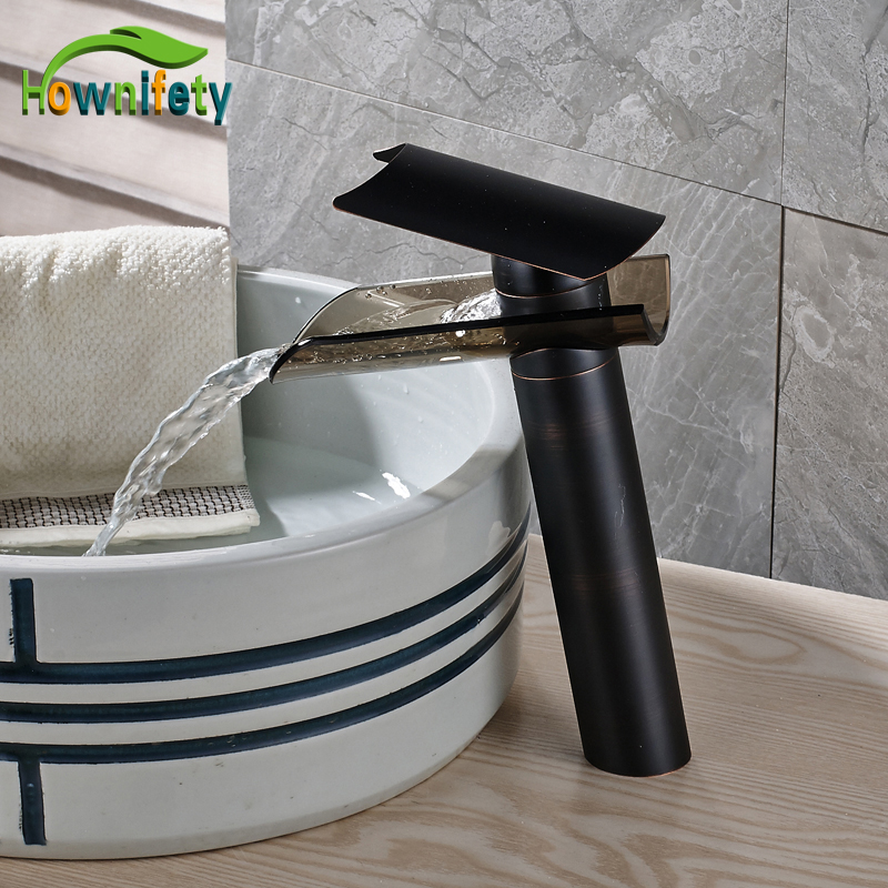 Oil Rubbed Bronze Bathroom Sink Faucet Single Handle Glass Waterfall Spout Mixer Tap Deck Mount label m осветляющий кондиционер для блондинок 300 мл