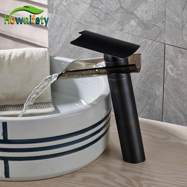 ... Bathroom Deck Mounted Oil-rubbed Bronze Waterfall Single Handle  Washbasin Faucet FA0502-1B ...