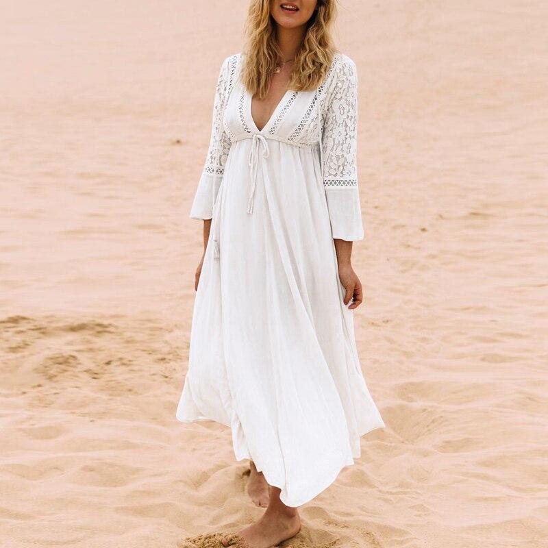 Модное женское летнее платье с глубоким v-образным вырезом и длинным рукавом, кружевное платье крючком, повседневное однотонное женское пля...