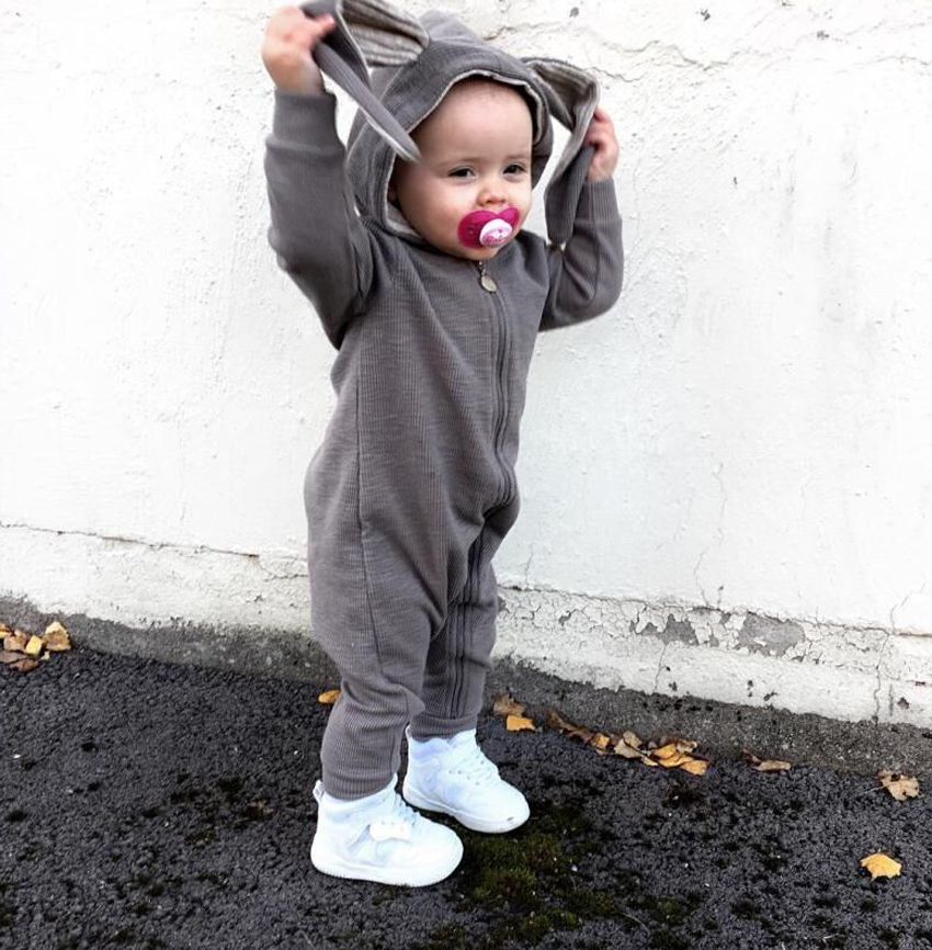 New Spring Autumn Baby Rompers Cute Cartoon Rabbit Ear Hooded Newborn Infant Girl Boy Jumpers Costume Kids Baby Outfits Clothes