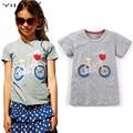 Menina Roupa do bebê 2017 Moda Bicicleta Impressão de Manga Curta T camisa Para Meninas de Algodão Crianças Tee Tops T-shirt Da Criança 18 M-6 T CG290