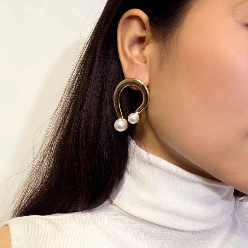 Ingemark แฟชั่นเลียนแบบไข่มุกต่างหู Tiny Sweet U Letter รูปทรงเรขาคณิตต่างหูผู้หญิงเครื่องประดับหูน่ารัก