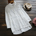 Spring Autumn Mori Girl Blouse Organza Embroidery Turn-down Collar Long Sleeve White Shirt Cute Kawaii Blouses U569