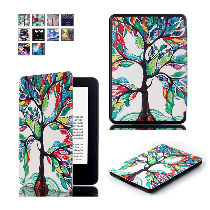 50Pcs/Lot PU Leather Smart Cover Case for Amazon New Kindle 8 8th 2016 Generation Gen Fundas Version + Screen Protector Gift magnetic case for new kindle 8th generation 2016 6 inch ebook smart sleep pu leather amazon cover ultra slim thin film pen