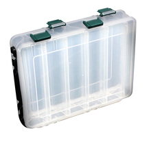 10 Compartments Plastic Fly Pesca Lure Tackle Box Double Sided High Strength Transparent Visible with Drain Hole 20*17*4.7cm