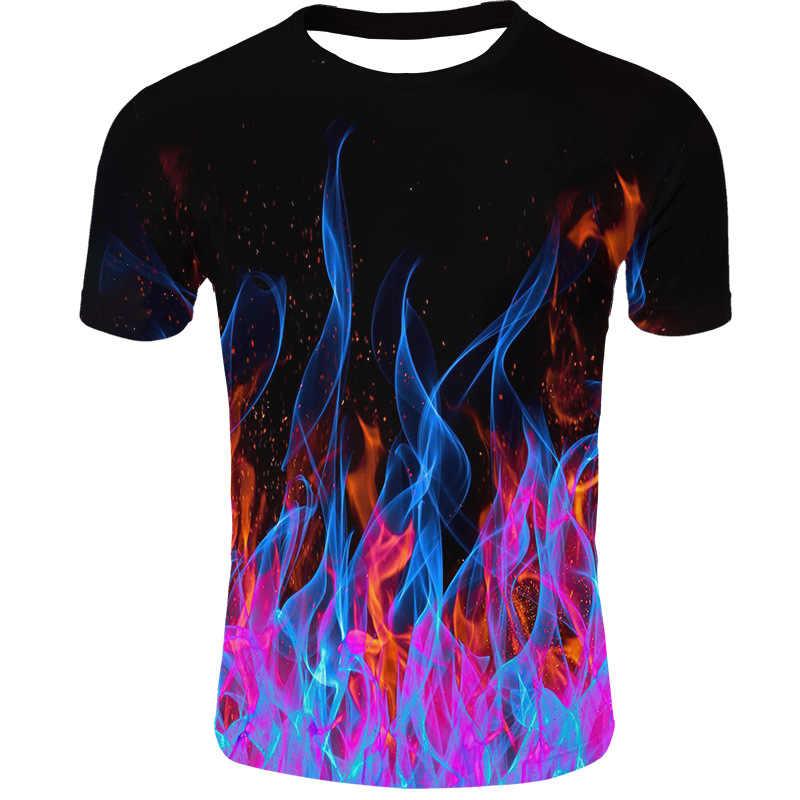 Darshion Fiamma Rossa Degli Uomini della Maglietta di Estate casual Nero 3d Uomini T-Shirt Anime Tee Top Hip Hop di Strada Vestiti Manica Corta tshirt