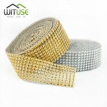 10 Yards Roll Gold Deco Trim Wedding Decor Bling Diamond Mesh Wrap Cake  Sparkle Party Rhinestone Crystal Ribbon 2ae906055c21