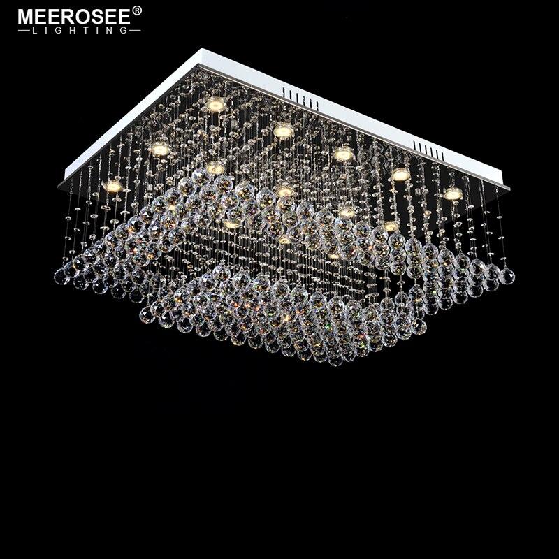 Gorgeous araña de cristal de luz rectángulo lámpara de cristal para sala de estar comedor techo lustres lamparas de techo abajur
