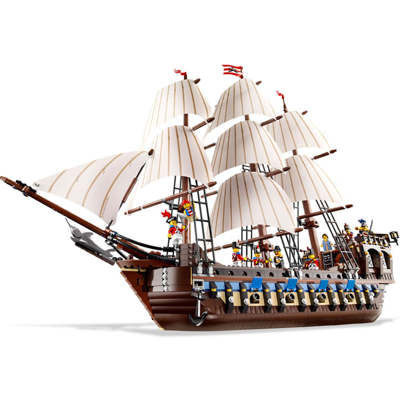 LEPIN 22001 1717pcs Movie Series Pirate Ship warships Model Building Block set Brick Educational Toy For children Gift 10210 lepin 22001 pirates series the imperial flagship model building blocks set pirate ship legoings toys for children clone 10210