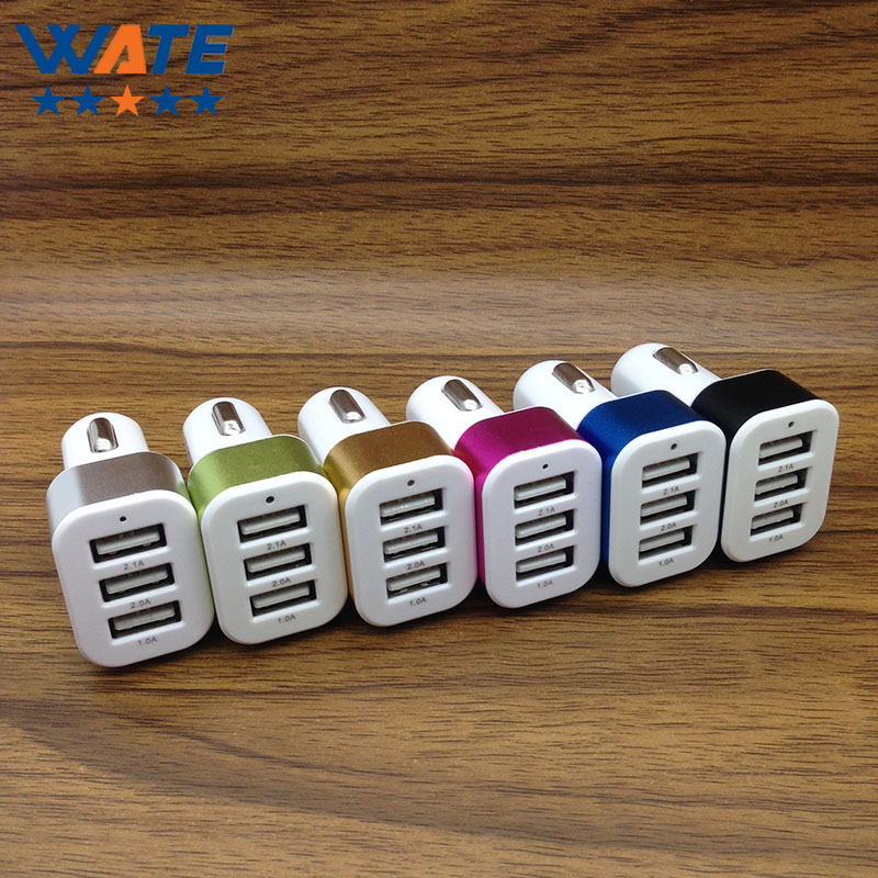 10PCS Lot 3USB Car Charger Adapter Smart Port 2 1A Car charger for Samsung iphone font