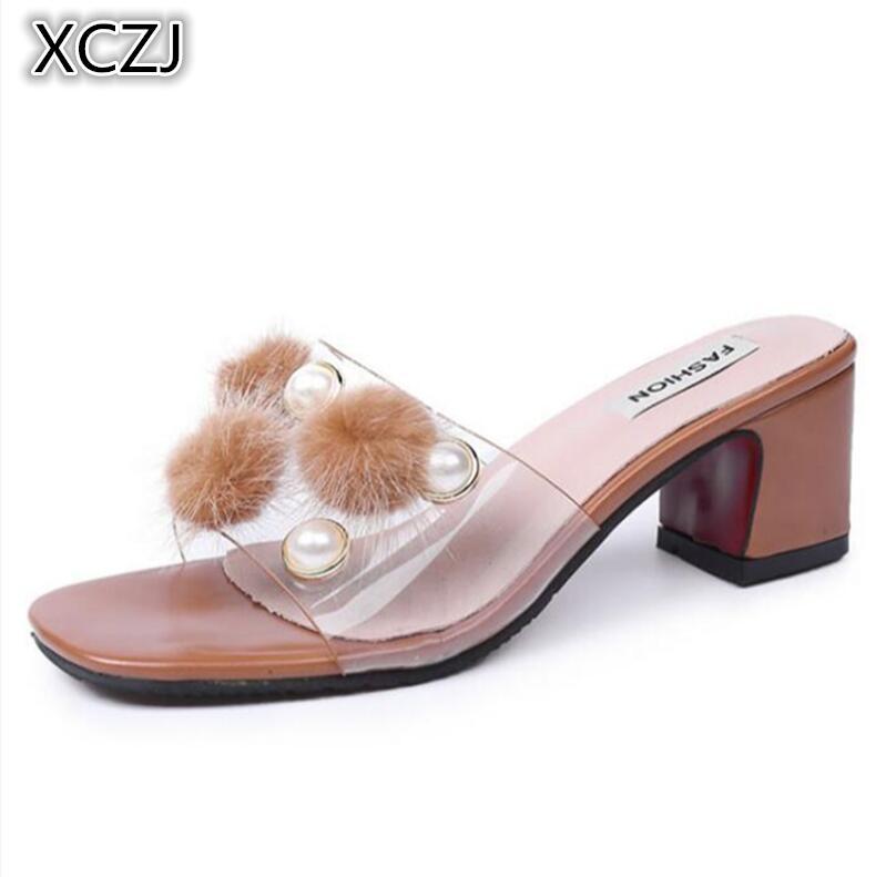 XCZJ Summer sandals female summer fashion wear 2018 new Korean high-heeled shoes wild hair ball word slippers female