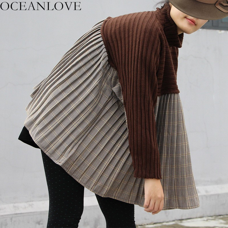 c1d92ec797b3 Ropa Batwing Jerseys Sleeve Larga Black Suéter Tejido Oceanlove Patchwork A  Invierno Pleated coffee Mujeres 10430 ...