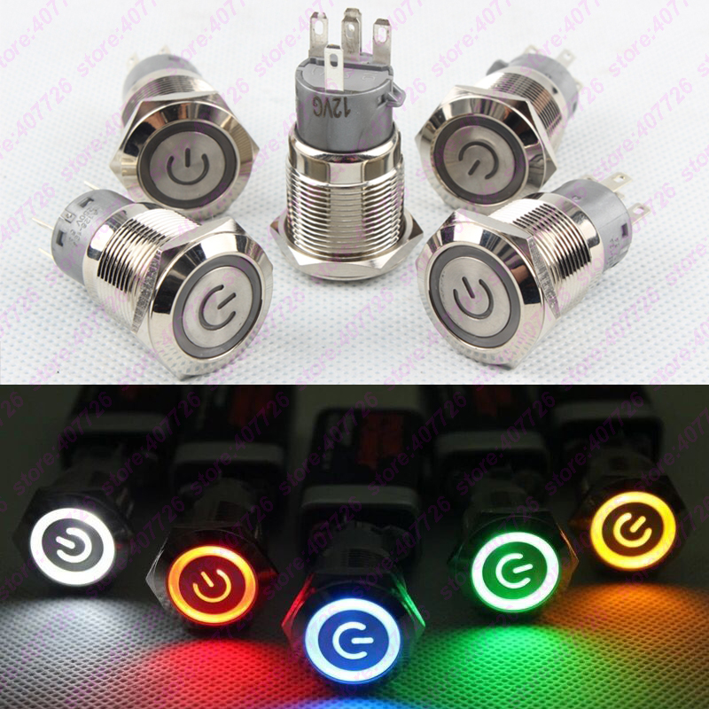 1PC 19MM Metal Power Start Push Button With LED 12V/24V Flat head Momentary Auto Reset Car dash Indication illuminated 1pc 12mm power start push button with led 12v 24v momentary auto reset metal button switch indication illuminated flat head