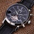 Jaragar luxury mechanical automatic brand watch leather strap date&day AUTO Flywheel Tourbillon Mens Wristwatch relogio Gift Box