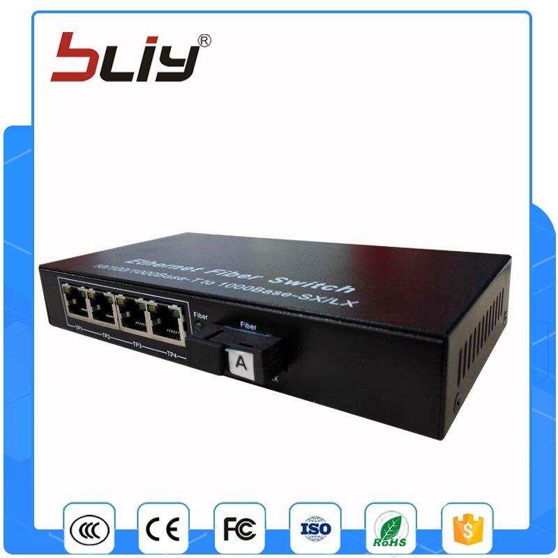 1 pair factory direct sale gigabit single fiber 1 fiber to 4 rj45 port media converter 20km optic fiber switch