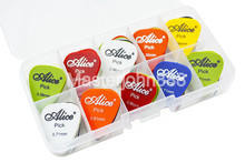 Lots of 50pcs Alice Matte ABS Alice Electric/Acoustic Guitar Picks Plectrums 6 Thickness With Plastic Picks Box Case 30pcs alice pearl celluloid acoustic electric guitar picks plectrums 1 plastic picks box case free shipping
