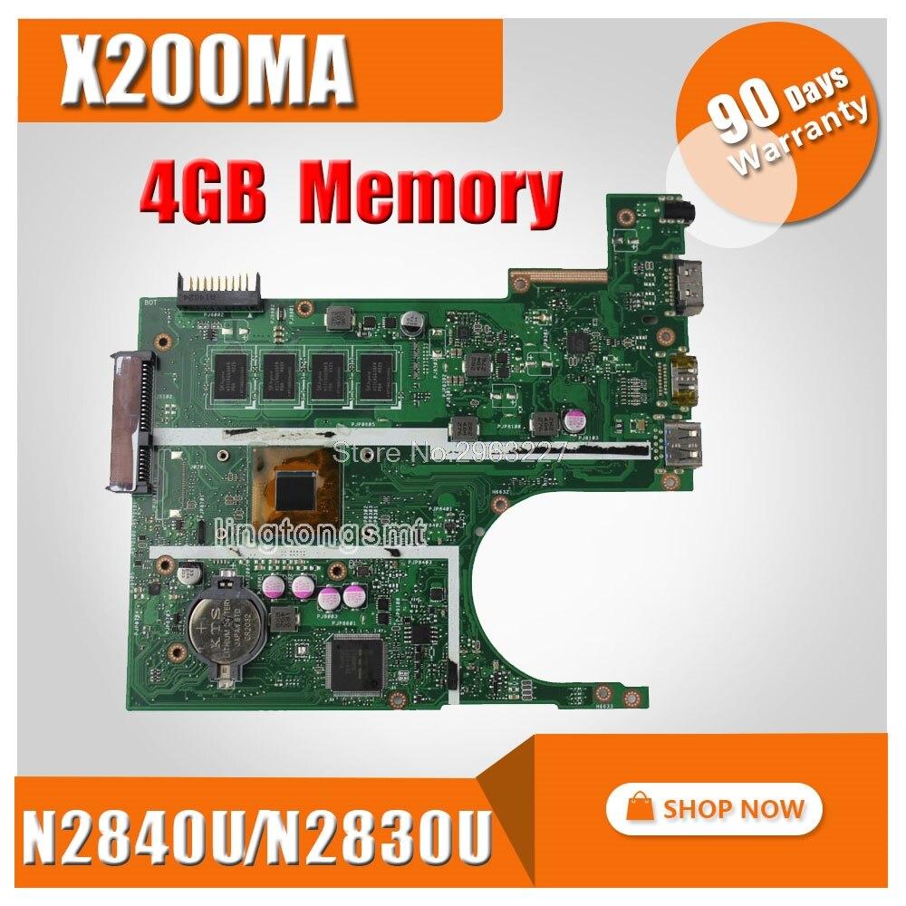 4 gb RAM X200MA carte mère REV2.1 N2830CPU/N2840U Pour ASUS K200MA F200MA X200MA X200M Ordinateur Portable Carte Mère X200MA Carte Mère