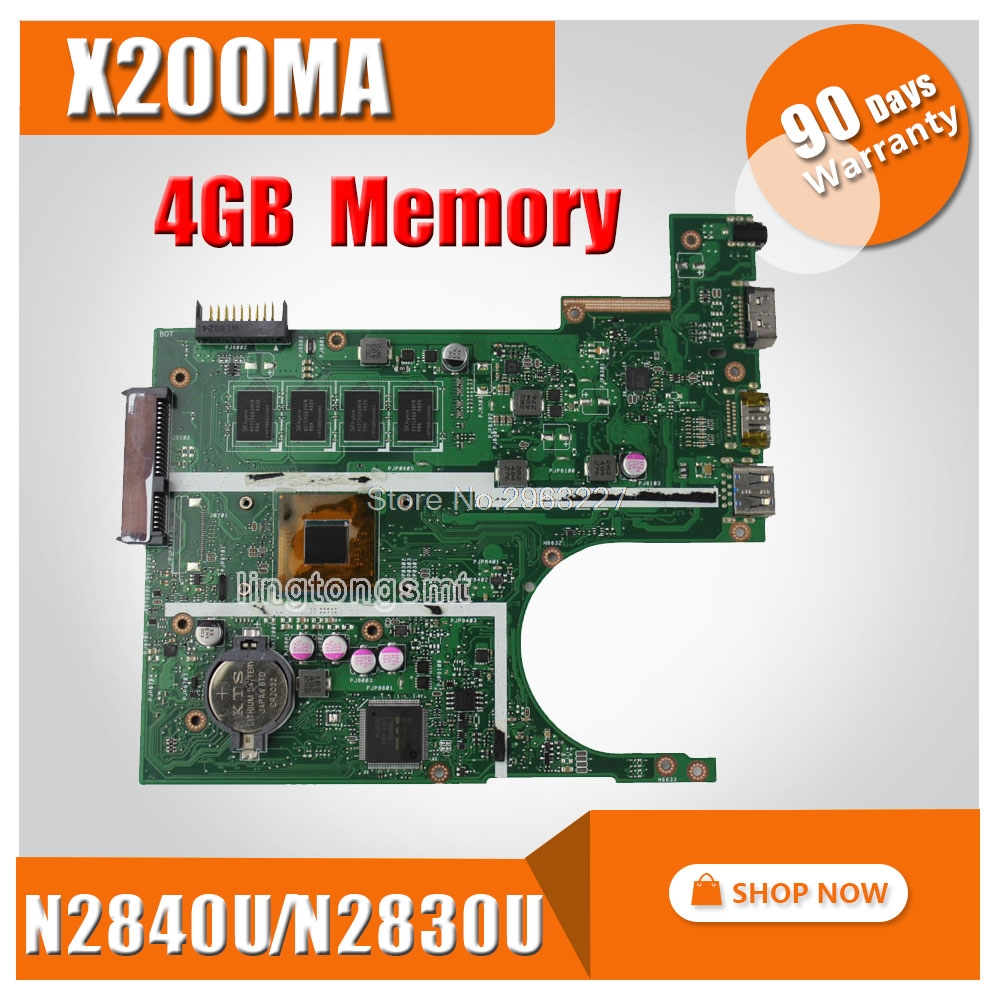4GB RAM X200MA motherboard REV2.1 N2830CPU/N2840U For ASUS K200MA F200MA X200MA X200M Laptop Mainboard X200MA Motherboard for asus motherboard f200ma f200m x200m x200ma rev2 1 mainboard with n3540u 4g memory test 100