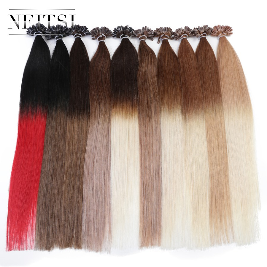 Neitsi Straight Indian Keratin Human Fusion Hair Nail U Tip Machine Made Remy Ombre Human Hair