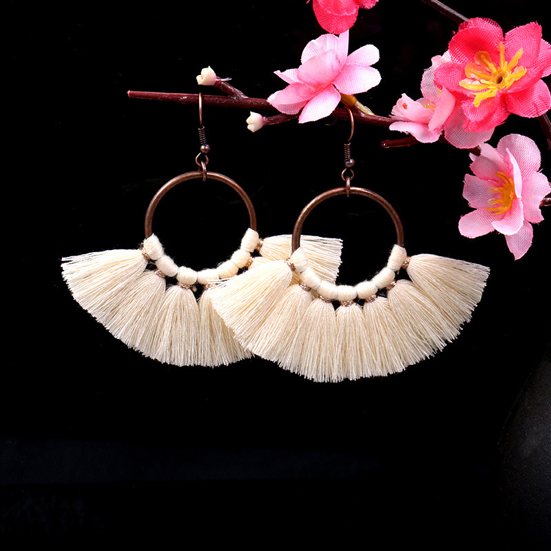 Exknl Long Vintage Fringed Drop Tassel Earrings Women Bohemian Round Big Earrings Ethnic Party Dangle Earrings Fashion Jewelry 18