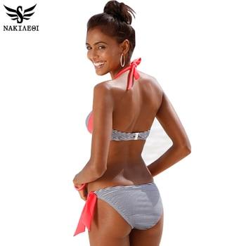 NAKIAEOI 2018 New Sexy Bikinis Women Swimsuit Push Up Bikini Set Bathing Suits Halter Summer Beach Wear Plus Size Swimwear XXL 1