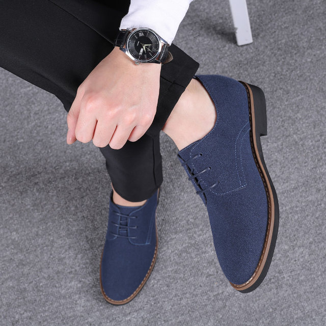 2019 High Quality Suede Leather Soft Shoes Men Loafers Oxfords Casual Male Formal Shoes Spring Lace-Up Style Men's Shoes 22