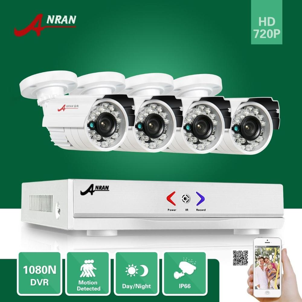 ANRAN 4CH AHD 1080N DVR HDMI 24IR Day Night 720P 1800TVL Indoor Outdoor Waterproof Camera CCTV Home Color Video Security System 1 0mp ahd camera waterproof ir night outdoor 720p cctv camera 8ch 1080p hdmi p2p remote view motion detect ahd dvr security kit