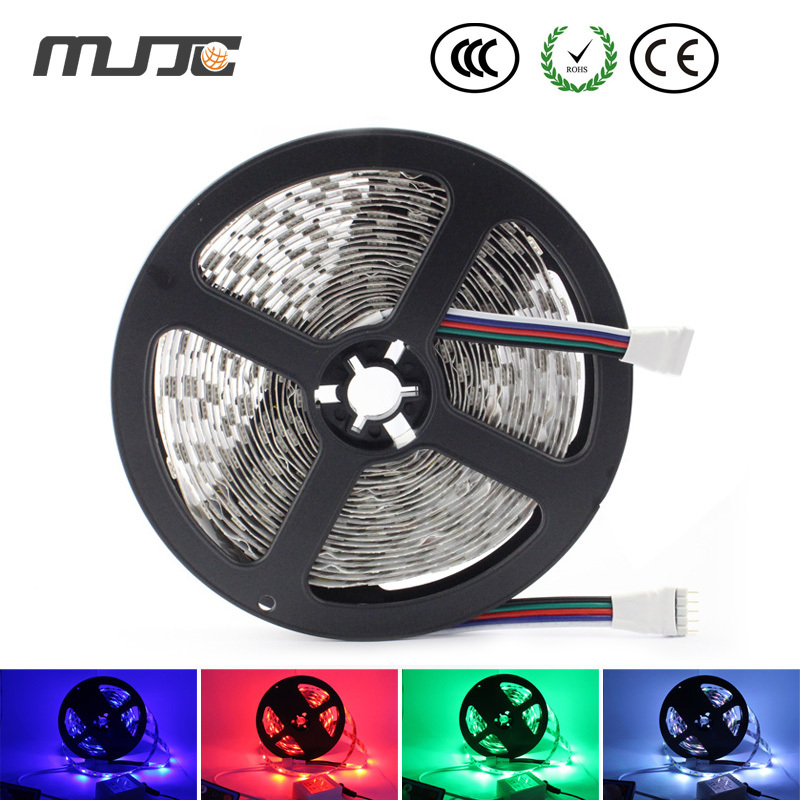 12V DC 5M 300 LED RGB Warm White/Cool White Flexible LED Strip Light with 3M adhesive Tape on backside,Non-waterproof