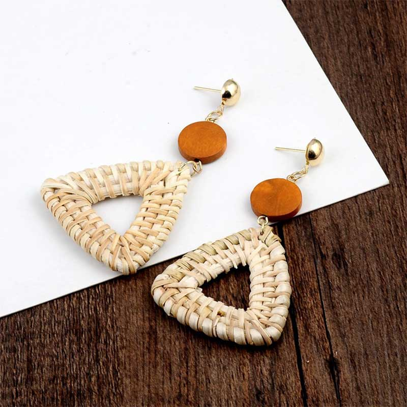 Geometric Wooden Straw Weave Women Beach Bohemian Circle Holiday Dangle Summer Drop Earrings Square Rattan Jewelry Earrings 7