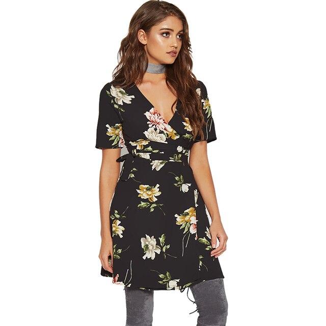 Brand Tropical Dresses For Women 2017 Summer Holiday Beach Dress Deep V Neck Mini Chiffon