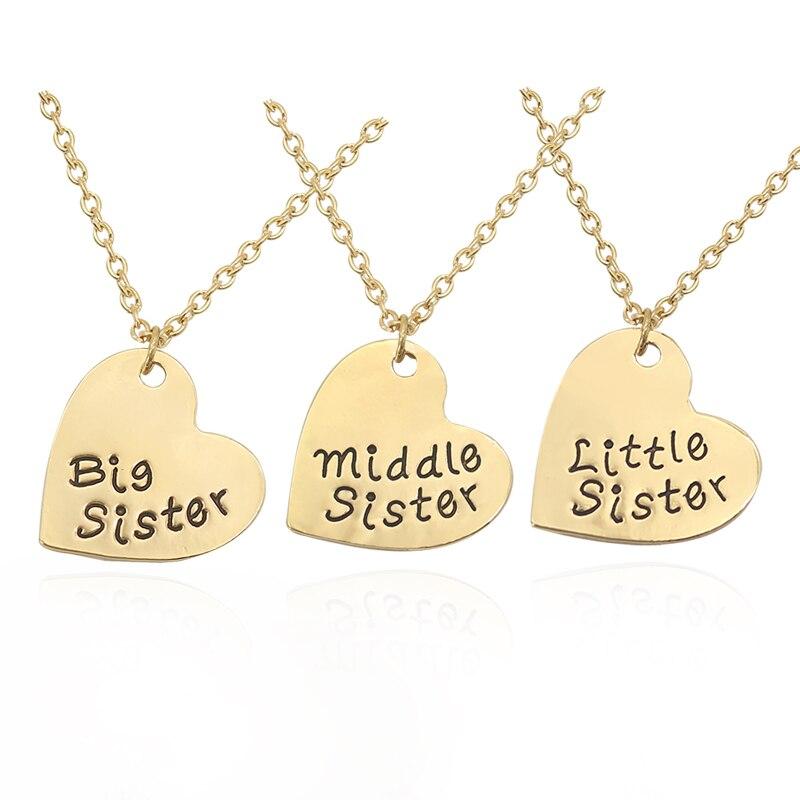 Ожерелье 3 шт./компл. ожерелье с подвеской для женщин, лучшей сестры, подруг, любовных сердец, 2 цвета, ожерелье с подвеской для больших, средни...