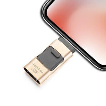 цена на Novelty USB Flash Drive 64GB 16GB 32GB For iPhone X 5 6 7 8 For Micro USB Flash For Android Huawei Phone Memory U Stick