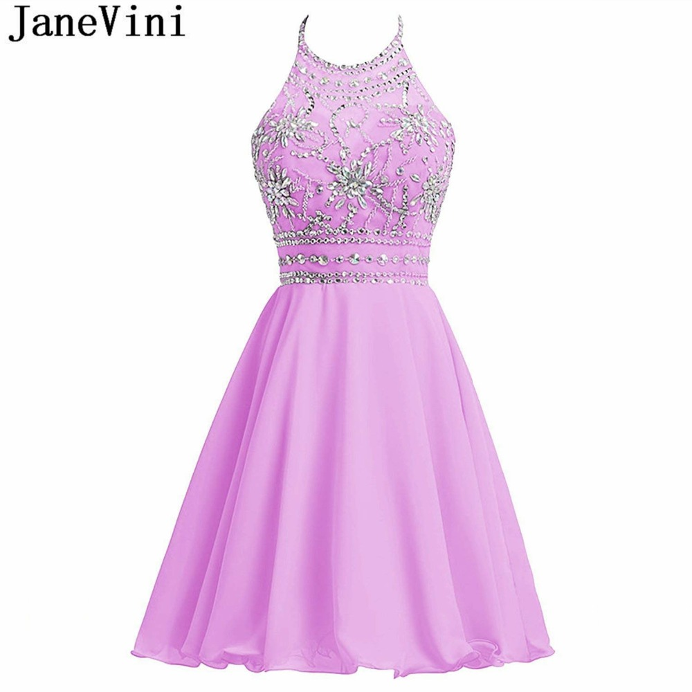 JaneVini 2018 Short   Bridesmaid     Dresses   with Crystal Beaded A Line Halter Chiffon Backless Lilac Girls Homecoming Formal Gowns