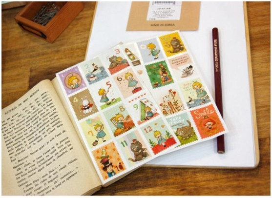 3packs/lot   NEW Alice Stamp Paper Sticker  Decoration Label  Multifunction
