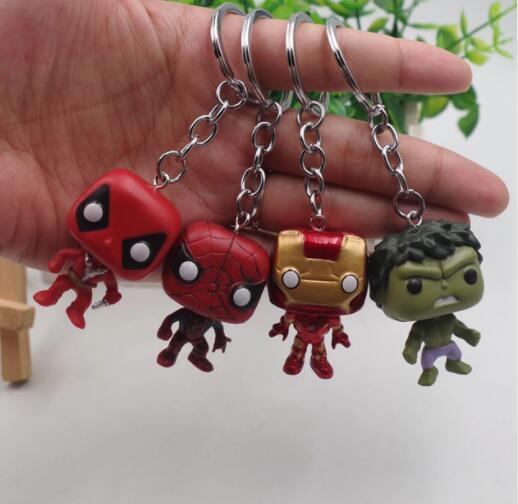 POP 4 Deadpool Marvel Homem de Ferro hulk Spiderman pçs/set Bolso chaveiro action Figure Coleção Modelo Brinquedos para crianças