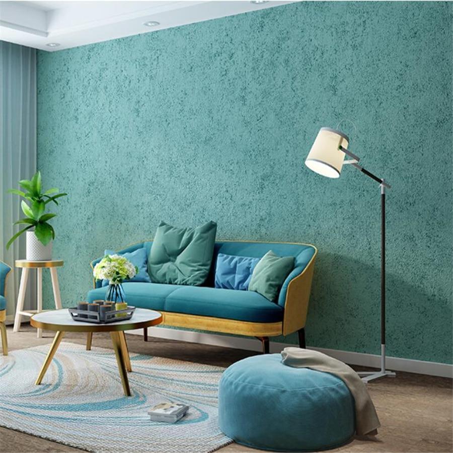 Nordic style peacock blue green wallpaper plain Southeast Asian bedroom restaurant living room hotel wallpaper clothing store