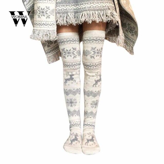 8f58b6cd672 Amazing Winter Women Christmas Thigh High Long Stockings Knit Over Knee  Socks Xmas Fashion Dec 4