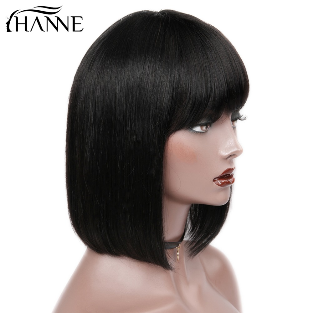 HANNE Hair Brazilian Straight Paryk med Bangs 100% Human Hair - Skønhed forsyning - Foto 4