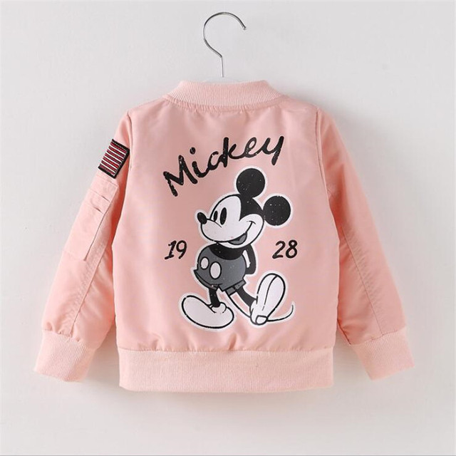 Baby Clothes Cartoon Mickey Pattern Girls Boys Jackets Coats Toddler Kids Jacket Outwear Baseball Windproof Children Clothes New 3